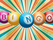 Шарики Bingo на ретро starburst Стоковое Изображение