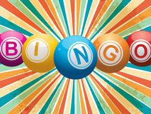 Bingo balls on retro starburst Stock Image