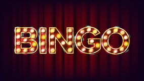 Bingo Banner Vector. Casino Glowing Lamps. For Fortune Advertising Design. Gambling Illustration. Bingo Banner Vector. Casino Glowing Lamps. For Fortune Royalty Free Stock Images