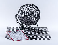 Bingo Cage and Bingo Card Stock Images