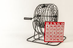 Bingo cage and card Royalty Free Stock Photo