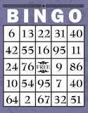 Bingo card. Classic style bingo card with purple border Stock Images
