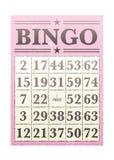Bingo card. Pink bingo card with randon numbers and retro style stock illustration