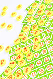 Bingo card arrange with number chip Royalty Free Stock Image