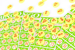 Bingo card arrange with number chip Royalty Free Stock Photos