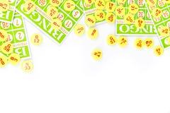 Bingo card arrange with number chip Stock Photos