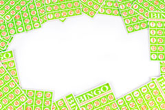 Bingo card arrange to have center space background. Isolated on white background Royalty Free Stock Photo