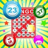 Bingo card and ball Stock Image