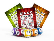 Bingo card and balls with numbers Stock Image
