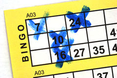 Bingo Card in Close up Stock Photography