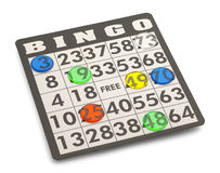 Bingo. Card with Game Pieces Isolated on White Background Stock Photography