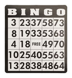 Bingo Card. Without Game Pieces Isolated on White Background Royalty Free Stock Image