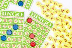 Bingo card game waiting for only one chip to win Stock Photo