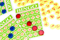 Bingo card game waiting for only one chip to win Stock Photos