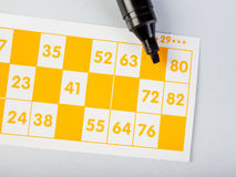 Bingo cards with marker Royalty Free Stock Image