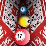 Bingo cards tunnel and bingo balls Stock Photos