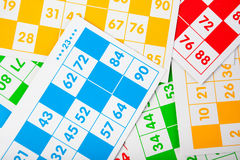 Bingo cards in various colors Royalty Free Stock Photo