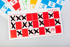 Bingo cards in various colors Royalty Free Stock Photos