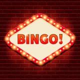 ¡Bingo! Casino, fondo de la cartelera de la loteria Imagen de archivo libre de regalías