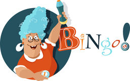 Bingo!. Cheerful mature woman holding a bingo ball and a felt pen, EPS 8 vector illustration, no transparencies stock illustration