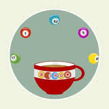Bingo coffee cup and balls in a border Royalty Free Stock Image
