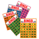 Bingo colorful cards vector illustration isolated on white. Lottery game tickets, logo design in gambling concept Stock Photos