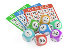 Bingo concept, lottery balls and cards. 3D rendering. On black background Royalty Free Stock Photos