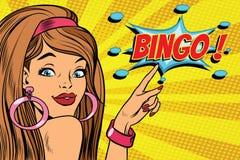 Bingo för kvinna för popkonst stock illustrationer