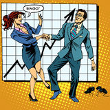 Bingo financial success dance business. Pop art retro style. Man and woman happily dancing. Graph of growth and profit Royalty Free Stock Images