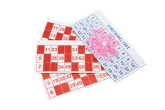 Bingo-Formulare und Spiel-Chips stockfotografie