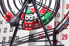 Bingo Game Cage and Calendar Royalty Free Stock Image