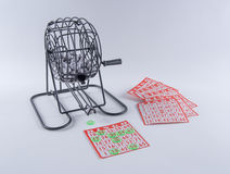 Bingo Game of Chance Cage and Cards Stock Image