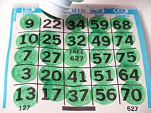 A bingo game scorecard. Background Stock Photography