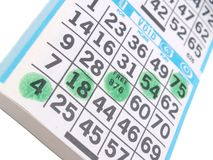 A bingo game scorecard. Background Stock Photo