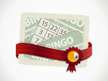 Bingo gift card and ribbon with crest and ball Royalty Free Stock Photo