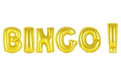 Bingo, gold color. Gold alphabet balloons, bingo, Gold number and letter balloon Royalty Free Stock Photos