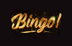 Goldenlogotype copy 40. Bingo gold word text with sparkle and glitter background suitable for card, brochure or typography logo design royalty free illustration