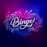 Bingo hand written lettering text. With colorful fireworks and celebration background. Modern brush calligraphy for greeting card, poster. Vector illustration royalty free illustration