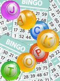 Bingo jackpot balls over cards background Stock Images