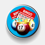 Bingo king and cards over metallic border Royalty Free Stock Images