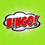 Bingo! Komische Sprache-Blase, Karikatur Stockfotos