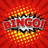 Bingo! Komisk anförandebubbla, tecknad film Arkivbilder