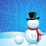 Bingo lottery ball snow man Royalty Free Stock Image