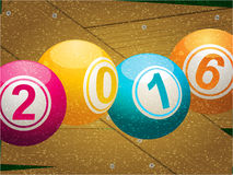 Bingo lottery ball 2016 on wooden background Stock Images