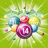 Bingo or lottery balls. And cards on green background vector illustration