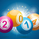 2014 bingo lottery balls. 2014 bingo ball background on blue Royalty Free Stock Image