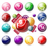 Bingo or lottery balls and cards Stock Photos