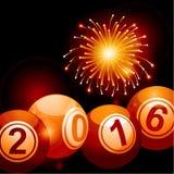 Bingo lottery balls 2016 and fireworks Stock Image