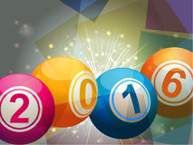 Bingo lottery balls 2016. 2016 Bingo Lottery Balls on Starburst and Glowing Background Royalty Free Stock Photography