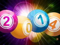 2014 bingo lottery balls on starburst Royalty Free Stock Image